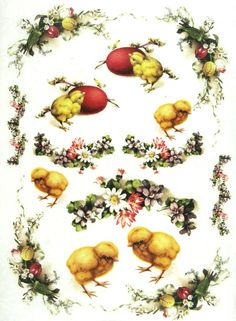 Ricepaper/Decoupage paper, Scrapbooking Sheets Vintage Easter Flowers with Eggs