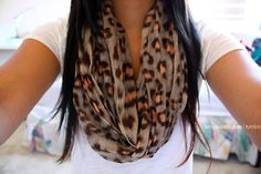 Simple plain white tee with leopard scarf. Cute