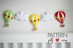 Create your own felt hot air balloon using my easy to follow, simple step by step instructions and pattern. This non-fussy design works well with a modern neutral nursery decor and it is a great way to tie in those accent colors. The clear, bold, basic shapes are perfect for stimulating your new baby. The Felt Hot Air balloon is not gender specific, can be made in unisex colors for sex-unknown. Everything is hand sewn at a beginner level and you can choose the color and how you would like…