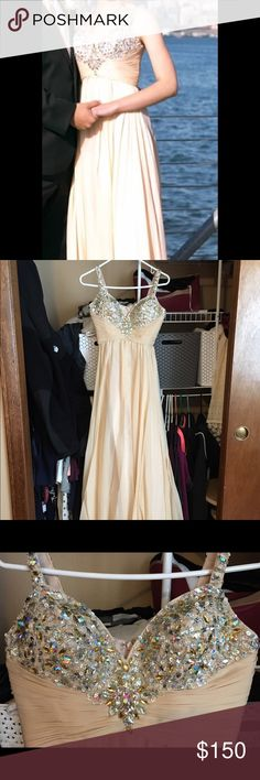 Nina Canacci Prom Dress: Size 2 Nina Canacci Prom Dress: Size 2. Beautiful champagne color with a jeweled top. It has been hemmed: straps and the bottom. Worn only once for my senior prom. No jewels have fallen. In great condition. I will make sure to package it safe for you. No returns accepted and guaranteed fast shipping. If you would like additional photos I would be happy to email you. Please let me know if you have any questions. I wore them with the shoes I also have listed on…