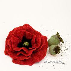 Mohnblüte aus Filz / Poppy handfelted -      die.waschkueche