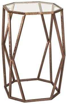 Bronzefarbener Couchtisch mit Glasfläche | Moderner Wohnzimmertisch