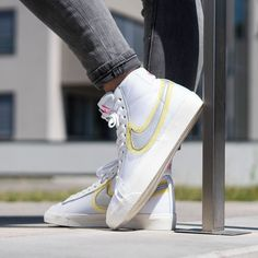 Nike Women's Blazer Mid Vintage '77 White / University Gold Credit : 43einhalb — #nike #blazer #sneakerhead #sneakersaddict #sneakers #kicks #footwear #shoes #fashion #style