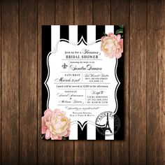 Parisian Themed French Bridal Shower Invitations - Paris France - Fleur de Lis - Eiffel Tower - Black & White Striped - Antique Gold, Pink, Vintage Floral - Printed Invites and Envelopes - Free Custom Colors