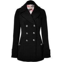 BURBERRY BRIT Black Wool Casual Jacket ($560) ❤ liked on Polyvore featuring outerwear, jackets, coats, coats & jackets and burberry