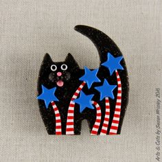 Medium-Glittery-Black-Kitty-Cat-Red-White-Blue-Fireworks-4th-of-July-Pin-SWris. Calvin Coolpaws loves hotdogs, apple pie and baseball...he's an all American cat!
