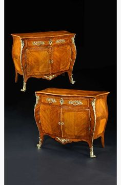 - A PAIR OF GEORGE III ROSEWOOD AND PADOUK COMMODES ATTRIBUTED TO PIERRE LANGLOIS