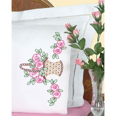 Jack Dempsey Stamped Pillowcases With Perle Edge 2/Pkg-Basket Of Flowers