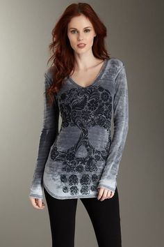 Floral Skull V-Neck Distressed Thermal on HauteLook