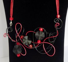 Bright Red Beaded Red & Black  Aluminium by TwistedInTheTropics, $25.95