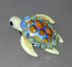 Glass Sea Turtle lampwork Pendant by fionaskissfan on Etsy, $55.00