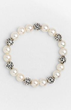 Elegant Pearl Bracelet With Silver Beads  from Pandahall.com: