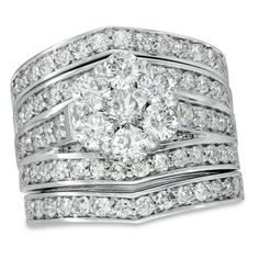 Diamond Cluster Multi Row Three Piece Bridal Set In White Gold