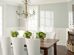 Dining Room Dining Room Wickham Gray by Benjamin Moore is a calming and subtle shade—perfect for a dining room. Read more: The New Neutrals: Paint Color Trends for 2014 - Country Living Follow us: @Country Living Magazine on Twitter | CountryLiving on Facebook Visit us at CountryLiving.com
