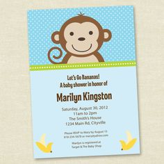 My Little Monkey Boy Baby Shower Blue 5 x by Kellymedinastudios