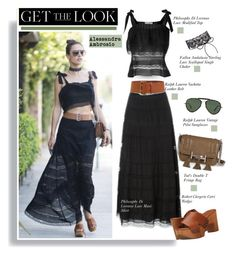 """""""Get the Look: Alessandra Ambrosio"""" by hamaly ❤ liked on Polyvore featuring Tod's, Robert Clergerie, Ralph Lauren, GetTheLook, StreetStyle, maxiskirt, AlessandraAmbrosio and waystowear"""
