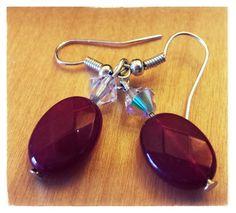 Red quartz & swarovski crystal earrings
