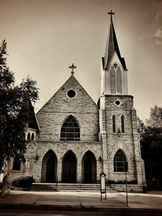 St. Josef's Catholic church, Fort Collins, CO by eg2006, via Flickr #old #church #catholic #chapel #steeple #fortcollins #colorado #turret #stone