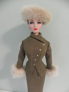 Brown/Cream Wool Suit with Mink for Gene Doll and Friends OOAK