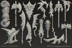 Weapons and Items for DOTA 2 Workshop, two of them were added in the game. Fantasy Blade, 3d Fantasy, Fantasy Weapons, Armor Concept, Weapon Concept Art, Blender 3d, Game Props, Anime Weapons, Ceramic Techniques