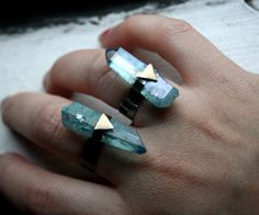 The Future Ring- Aqua Aura crystal in Handmade Sterling Silver