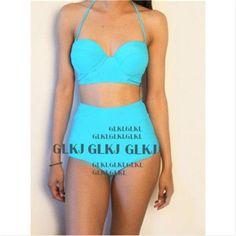 UK Womens Padded Push-up Bikini Set Swimsuit Bathing Suit Swimwear Beachwear High Waist Swimsuit GLANE