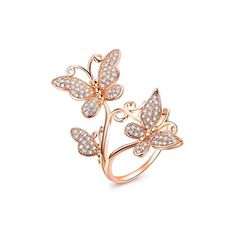 Bella Lotus Delicate Butterflies Rose Gold Plated CZ Paved Rings Size 55 * Details can be found by clicking on the image. Hand Jewelry, Cute Jewelry, Body Jewelry, Women Accessories, Jewelry Accessories, Jewelry Design, Butterfly Jewelry, Butterfly Ring, Fashion Rings