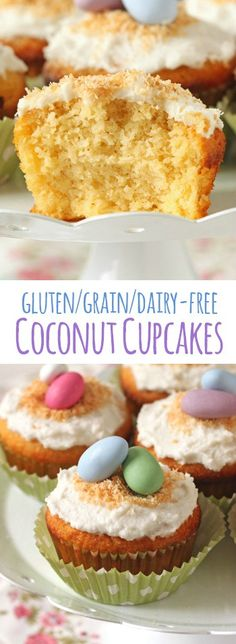 These coconut cupcakes are made with coconut and almond flour and have an amazing texture! And as a bonus, they're gluten-free, grain-free and dairy-free.