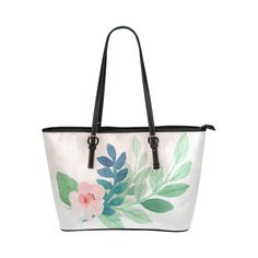 Cute Pink Watercolor Floral Green Leaves Leather Tote Bag/Small (Model 1651)