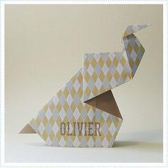 Origami olifant babykaartje