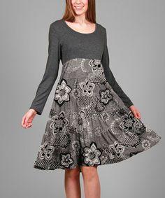 Gray & Black Floral Tiered Empire-Waist Dress