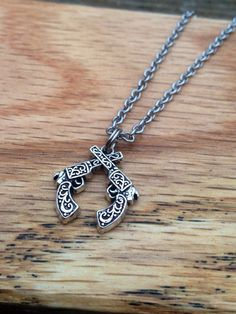 Double Pistol Necklace Crossed Pistol Necklace Country Girl Silver Gun Jewelry Western Cowgirl Country