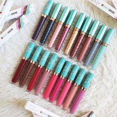 Beauty Bakerie Lip Whip  Top Row L to R: She's Just Jelly, Space Cake, Waffle Cone, Berried, Cake & Glory, Cinnamon Roll, GingerSnap, Parisian Streets and Apple Pear Smoothie  Bottom Row L to R: Cranberry Stiletto, S'mores D'oeuvres, Mon Cheri, Versailles, Tres Jolie, Sakura Delight, Watermelon Slushie, French Toast and Yogurt Berries
