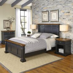 Americana Black and Oak Bed, Two Night Stands, and Chest