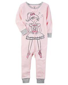 Carters Little Girls 1-Piece Snug Fit Cotton Footless Pajamas (2T, Ballerina)
