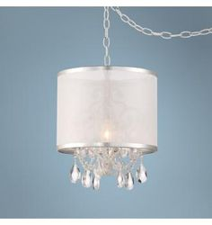 Piper White Sheer Shade and Crystal Plug-in Swag Chandelier