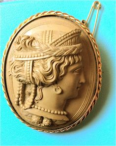 Museum Quality Lava Cameo Brooch of Hera, Queen of the Gods