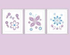 Baby Nursery Wall Art Purple Blue Lavender Butterflies Flowers Baby Decor Nursery Prints Girls Room Decor Art for Baby Girl 3 PRINTS SET