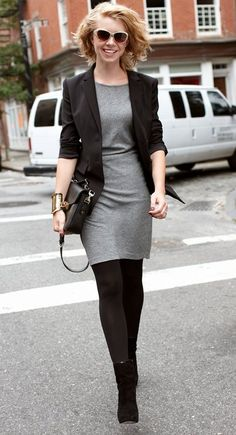 For my short grey dress. Black tights. Office attire. Black blazer. Black boots. Black messenger bag. Statement gold bangle.