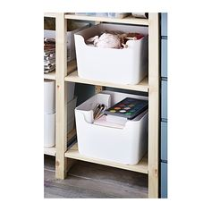 IKEA - PLUGGIS, Recycling bin, white, You can save space by stacking two boxes on top of one another. Ikea Bins, Ikea Storage Bins, Toiletry Storage, Pantry Storage, Plastic Storage, Shoe Storage, Shopping Ikea, Recycling Information, Crates