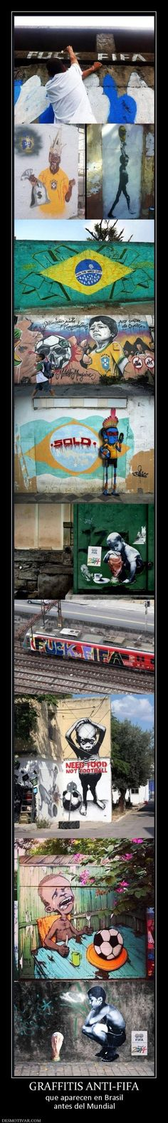 GRAFFITIS ANTI-FIFA que aparecen en Brasil antes del Mundial