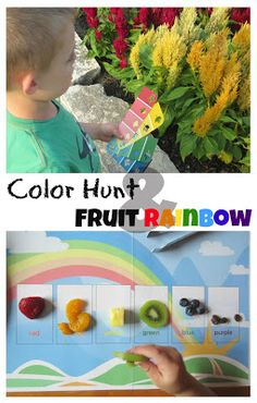 Give kids an rainbow array of paint chips and send them on a color hunt. When they've worked up an appetite, have them sort fruit into a rainbow. Free printable activity mats and instructions at Relentlessly Fun, Deceptively Educational.