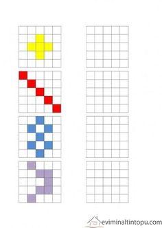 Preschool Printables, Preschool Worksheets, Kindergarten Activities, Learning Activities, Preschool Activities, Symmetry Worksheets, Graph Paper Art, Montessori Math, Coding For Kids