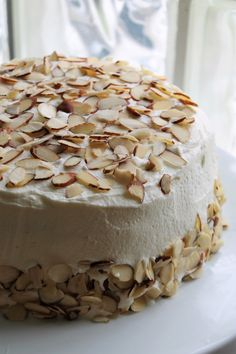 Amaretto cake slathered with a luscious whipped cream/mascarpone frostingl Almond Pound Cakes, Pound Cake Recipes, My Recipes, Baking Recipes, Dessert Recipes, Recipies, Amaretto Cake, Mascarpone Cake, Different Cakes