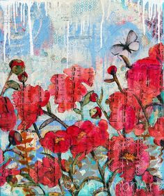 Floral print  peony art  mixed media collage art  by SchulmanArts