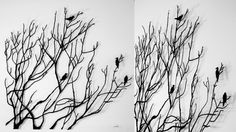 Meredith Woolnough | Gallery...Birds on Barren Branches (2012) embroidery thread, pins, glass rods on archers paper,
