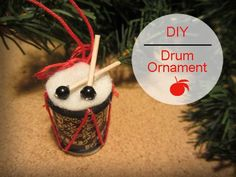 Drum Ornament DIY (12 days of Recycled Christmas Ornaments ~ made from an empty thread spool and a toothpick)