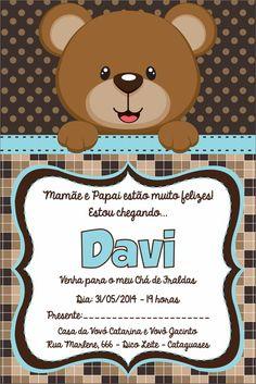 Arte Convite Chá de Bebê Urso Azul