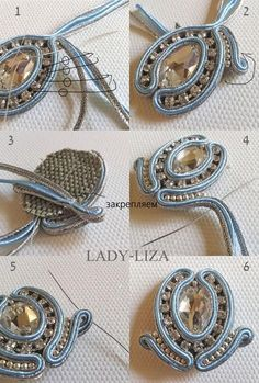 Tutorial Soutache, Soutache Pattern, Ribbon Jewelry, Fabric Jewelry, Bead Embroidery Jewelry, Beaded Jewelry Patterns, Soutache Earrings, Beaded Brooch, Quilling Jewelry