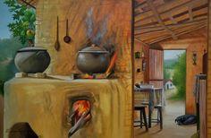 Relembrar infância, através de uma pintura que retrata a vida simples do campo. Isso é possível. South American Art, Drawing Sketches, Drawings, Cute Cartoon Girl, Still Life Oil Painting, Winter Painting, Indian Paintings, Restaurant Design, Clay Art